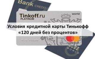 Условия кредитной карты Тинькофф «120 дней без процентов»
