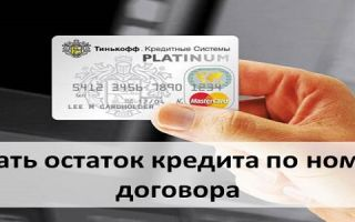 Узнать остаток кредита по номеру договора в Тинькофф Банке