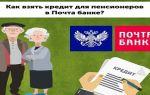 Как оформить кредит в Почта Банке пенсионерам