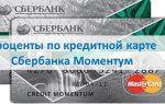 Проценты по кредитной карте Сбербанка Моментум