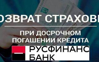 Возврат страховки по кредиту при досрочном погашении в Русфинанс Банке