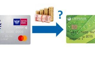 Как перевести деньги с кредитной карты Почта Банка на карту Сбербанка?