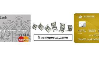 Комиссия за перевод с кредитной карты Тинькофф на карту Сбербанка