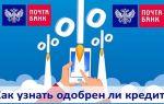 Как узнать одобрен ли кредит в Почта Банке