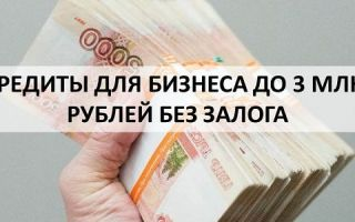 Кредиты для бизнеса до 3 млн рублей без залога