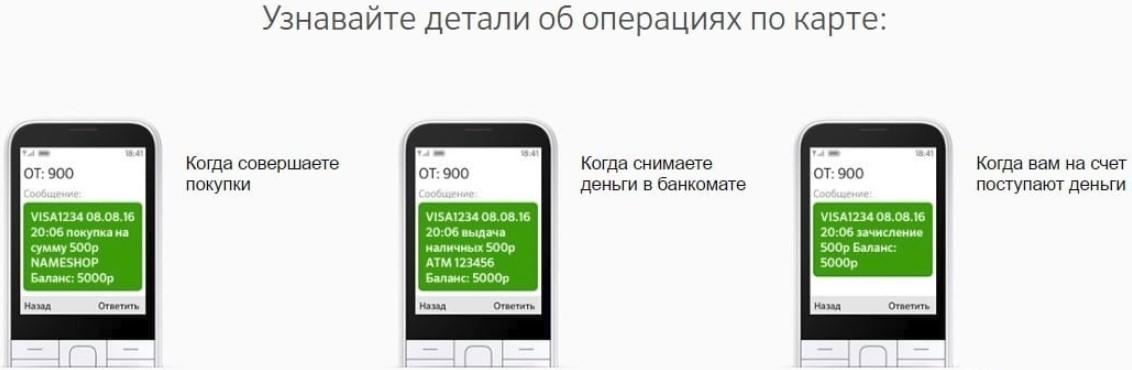 СМС информирование Сбербанка