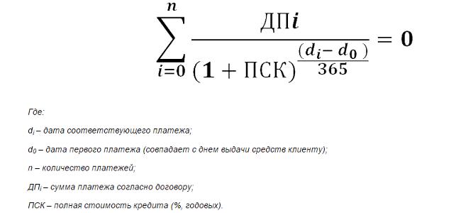 формула полной стоимости кредита